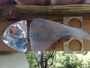 Pesce Pizza - Installazione di alluminio da 4 mm, pomello in ceramica, rete di alluminio, lastra di rame, legno